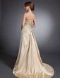 A-Line/Princess Sweetheart Sweep Train Satin Wedding Dress With Embroidered Ruffle Beading Sequins (002015130)