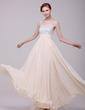 A-Line/Princess V-neck Floor-Length Chiffon Holiday Dress With Ruffle Beading (020016199)