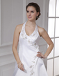 A-Line/Princess Halter Chapel Train Satin Wedding Dress With Embroidered Beading (002015476)