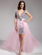 A-Line/Princess V-neck Asymmetrical Detachable Chiffon Tulle Prom Dress With Beading (018018996)