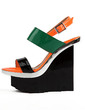Patent Leather Wedge Heel Platform Wedges Slingbacks Sandals With Split Joint (087026658)