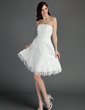 A-Line/Princess Strapless Knee-Length Tulle Homecoming Dress With Ruffle Appliques Lace (022015748)