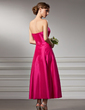 A-Line/Princess Strapless Tea-Length Taffeta Bridesmaid Dress (007020875)