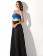 A-Line/Princess Strapless Floor-Length Satin Bridesmaid Dress With Ruffle Sash (007000940)