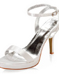 Women's Satin Cone Heel Platform Sandals With Buckle (047005111)