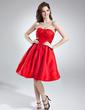 A-Line/Princess Sweetheart Knee-Length Taffeta Cocktail Dress With Ruffle Bow(s) (016016002)