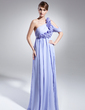 A-Line/Princess One-Shoulder Watteau Train Chiffon Evening Dress With Ruffle Flower(s) (017014983)