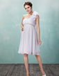 Imperialna Jednoramienna Do Kolan Chiffon Tulle Sukienka na Zjazd Absolwentów Z Żabot Perełki Kwiat(y) (022009974)