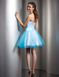 A-Line/Princess Sweetheart Short/Mini Tulle Homecoming Dress With Ruffle Beading (022008951)