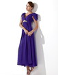 A-Line/Princess V-neck Ankle-Length Chiffon Bridesmaid Dress With Ruffle Beading (007013104)