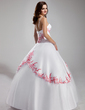 Ball-Gown Scoop Neck Floor-Length Tulle Quinceanera Dress With Embroidered Ruffle Beading (021002279)