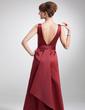 A-Line/Princess V-neck Floor-Length Satin Mother of the Bride Dress (008016181)