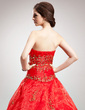 Ball-Gown Strapless Floor-Length Organza Quinceanera Dress With Embroidered Beading Sequins (021016379)
