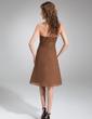 Çan/Prenses Kalp Kesimli Diz Hizası Chiffon Mezunlar Gecesi Elbisesi Ile Büzgü Boncuklama (022011402)