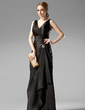 Sheath/Column V-neck Floor-Length Charmeuse Bridesmaid Dress With Crystal Brooch Cascading Ruffles (007001754)