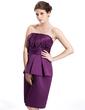 Sheath/Column Strapless Knee-Length Satin Bridesmaid Dress With Cascading Ruffles (007026280)