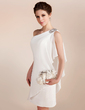 Sheath/Column One-Shoulder Short/Mini Chiffon Wedding Dress With Beading Cascading Ruffles (002011748)