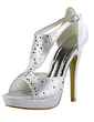 Women's Satin Stiletto Heel Peep Toe Platform Sandals With Rhinestone (047020214)