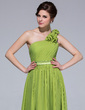 A-Line One-shoulder Floor-length Chiffon Bridesmaid Dress With Ruffle Flowers (007037242)