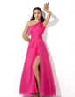 A-Line/Princess One-Shoulder Floor-Length Chiffon Prom Dress With Ruffle Beading Sequins Split Front (018005062)