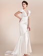 Trumpet/Mermaid V-neck Asymmetrical Charmeuse Wedding Dress (002012161)