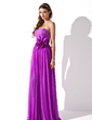 A-Line/Princess Strapless Floor-Length Chiffon Prom Dress With Ruffle Beading Flower(s) (018013790)