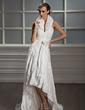 A-Line/Princess Halter Asymmetrical Taffeta Wedding Dress With Ruffle Flower(s) (002012923)