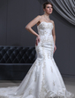Trumpet/Mermaid Sweetheart Court Train Satin Wedding Dress With Beading Appliques Lace (002000301)