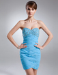 Sheath/Column Sweetheart Short/Mini Chiffon Homecoming Dress With Ruffle Beading Sequins (022009003)