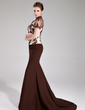 Trumpet/Mermaid High Neck Sweep Train Chiffon Charmeuse Evening Dress With Beading Appliques Lace Sequins (017019454)