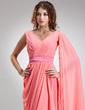 A-Line/Princess V-neck Floor-Length Chiffon Evening Dress With Ruffle (017022552)