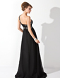 Empire One-Shoulder Sweep Train Chiffon Evening Dress With Ruffle Beading (017013775)