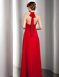 A-Line/Princess Halter Floor-Length Chiffon Evening Dress With Ruffle Bow(s) (017014553)
