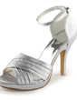 Women's Satin Cone Heel Platform Sandals With Buckle (047010754)