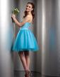 Çan/Prenses Kalp Kesimli Diz Hizası Satin Tulle Mezunlar Gecesi Elbisesi (022009588)