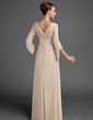 Yüksek Bel V yaka Uzun Etekli Şifon Gelin Annesi Elbisesi Ile Büzgü Dantel Boncuklama (008015725)