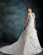 A-Line/Princess V-neck Chapel Train Taffeta Wedding Dress With Ruffle Beading Flower(s) (002001265)