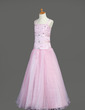 A-Line/Princess Floor-length Flower Girl Dress - Organza/Satin Sleeveless With Ruffles/Beading (010005890)