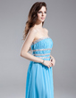 A-Line/Princess Strapless Floor-Length Chiffon Prom Dress With Ruffle Sash Beading (018015846)
