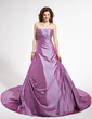 Ball-Gown Sweetheart Chapel Train Taffeta Wedding Dress With Ruffle Beading (002004483)
