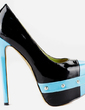 Patent Leather Stiletto Heel Pumps Platform Closed Toe With Split Joint shoes (085026500)