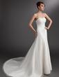 A-Line/Princess Sweetheart Chapel Train Tulle Wedding Dress With Ruffle (002016743)