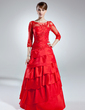 A-Line/Princess Scoop Neck Floor-Length Taffeta Mother of the Bride Dress With Lace Beading Cascading Ruffles (008006255)