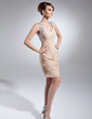 Sheath/Column Sweetheart Short/Mini Chiffon Mother of the Bride Dress With Ruffle Beading Sequins (008015654)