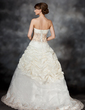 Ball-Gown Strapless Sweep Train Taffeta Wedding Dress With Ruffle Lace Sequins (002017434)
