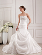Trumpet/Mermaid Strapless Cathedral Train Taffeta Lace Wedding Dress With Beading (002019537)