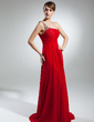 A-Line/Princess One-Shoulder Court Train Chiffon Mother of the Bride Dress With Ruffle Beading (008015388)