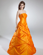 A-Line/Princess Strapless Floor-Length Taffeta Quinceanera Dress With Ruffle (021016035)