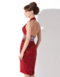 Sheath/Column Halter Knee-Length Sequined Cocktail Dress With Beading (016008512)