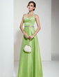 A-Line/Princess Halter Floor-Length Taffeta Bridesmaid Dress With Ruffle Sash (007001775)